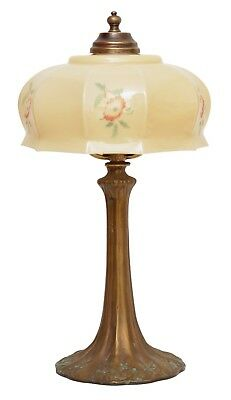 Beautiful Wiener Kaffeehausleuchte Table Lamp Brass Art Nouveau Opal Glass