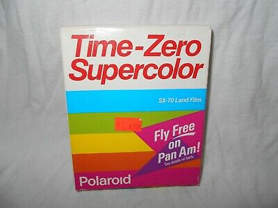 POLAROID TIME ZERO SUPERCOLOR SX 70 FILM w/ FLY PAN AM OFFER EXP 07/90
