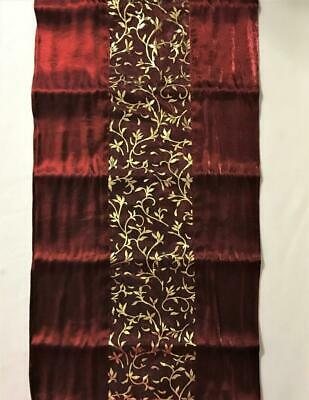 New Christmas Table Runner Dresser Scarf Burgundy Red & Shiny Gold Leaf 72X14""