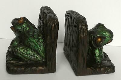 Vintage Irridized Green Chalkware Frog Bookends USA Art Studio # 889 Nice Detail