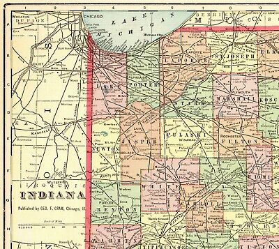 1905 Antique INDIANA State Map Crams Atlas Map of Indiana  7347
