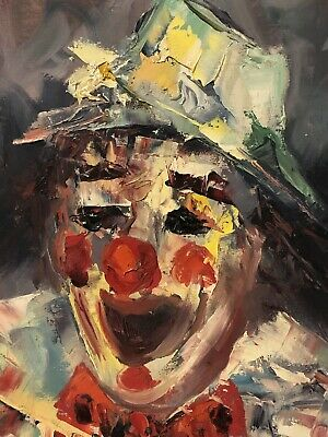 Vintage Clown Oil Painting Large Signed Original On Canvas Palette Knife 24 x 20