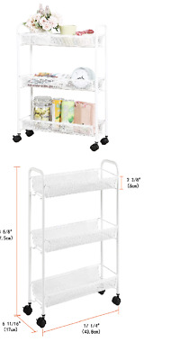 Rolling Household Trolley Cart,3 Tier Slim Utility Carts with Steel Wire Shelves