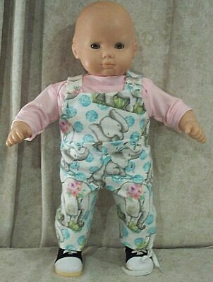 """Doll Clothes Baby Hand Made 4 American Girl Boy 15"""" Overalls 2pc Denim Bears"""