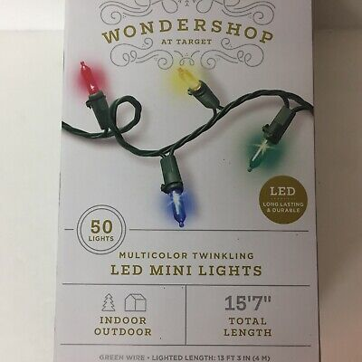 Wondershop 50 Multi Colored LED Mini Lights Green Wire Christmas Wedding Outdoor