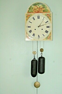 Antique Victorian Wall Clock With Key & Pendulum/Weights. Chiming.