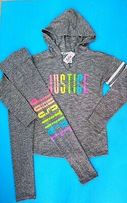 Nwt Justice Girls Outfit~ Logo Long Sleeve Hoodie & Logo Leggings Size 12