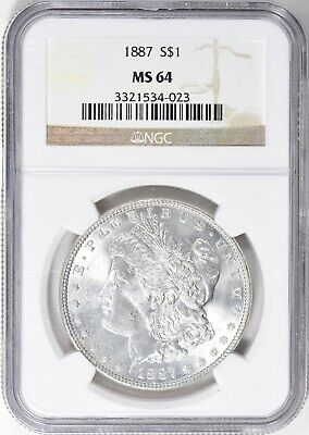 "1887 Morgan Silver Dollar Ngc Ms-64  ""Gorgeous"""
