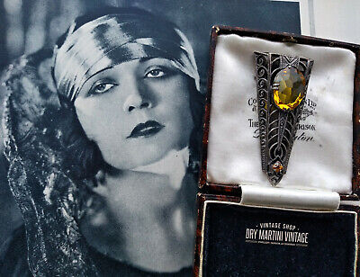 ANTIQUE ART DECO 1920s BOHEMIAN SILVER CITRINE PASTE DRESS CLIP BEAUTIFUL GIFT