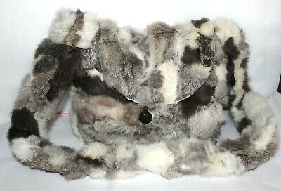 ✿ Hand Crafted Real Rabbit Fur Cross-Body Boho Bag 9.5x4x11 EXCELLENT! L@@K!
