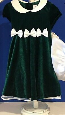 Rare Editions Baby Toddler Girls 3 pc Dress size 24 months NWT Green Velvet Bows