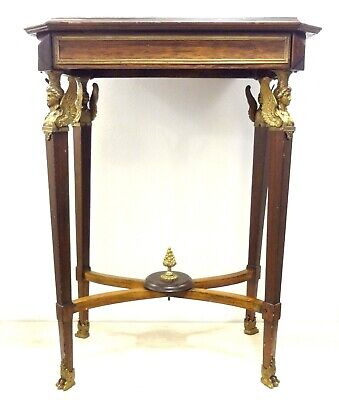Antique 19Th Superb French Empire Pier Table Winged Caryatids Bronze Marble Wood