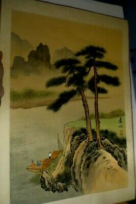 Lg Antique Asian Japanese Watercolor on Silk Painting Signed by Artist vintage