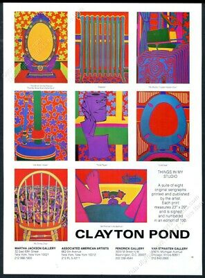 1973 Clayton Pond color art 8 images NYC gallery vintage print ad