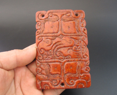 Old China,HongShan culture jade,hand-carved,dragon,amulet pendant Y105