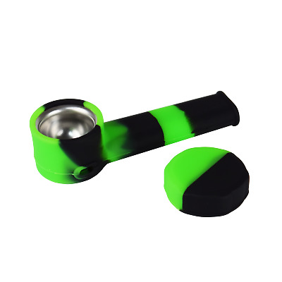 Silicone Smoking Pipe with Metal bowl & Cap Lid  ~ Neon Green & Black ~ 3.5 inch