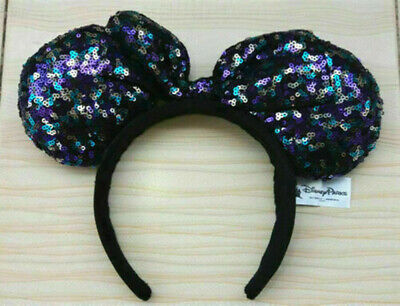 New Disney Parks Minnie Mouse Sequined Ears Headband So Cute Bow hot