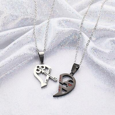 2pcs His Hers Love Heart Key Lock Matching Bracelet and Tag Pendant Necklace