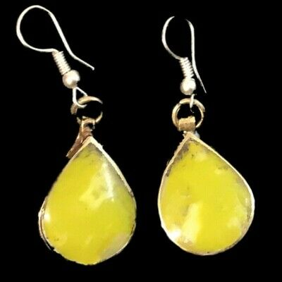 VERY RARE ANCIENT SILVER EARRINGS WITH YELLOW STONES (Large Size) (2)