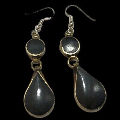 VERY RARE ANCIENT SILVER EARRINGS WITH BLACK STONES 200-400 AD (Large Size) (3)