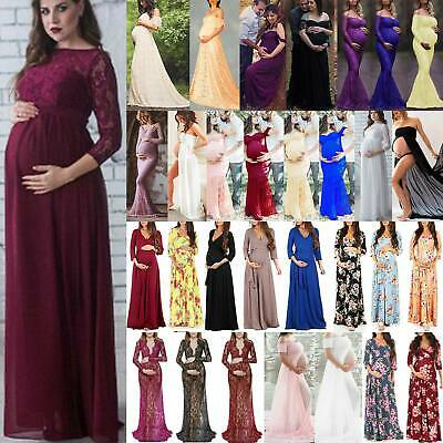 Maternity Ladies Lace Photography Long Pregnant Boho Maxi Gown Party Dress Props