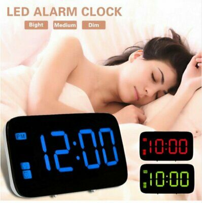LED Digital Alarm Clock Snooze Large LCD Display Battery Powered Voice Control