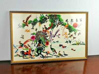 Vintage Oriental Chines Japanese Embroidery Picture Tree and Birds Framed Large