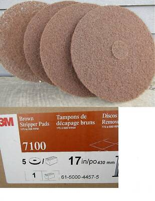 "( 4 )  3M #7100 17"" Brown Stripping Pads"