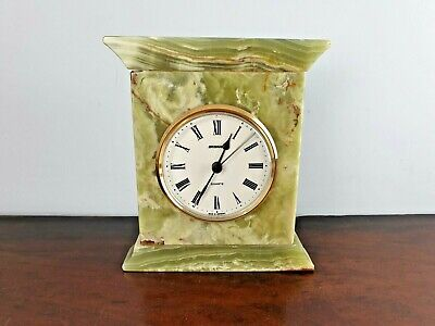 Vintage Green Onyx Staiger Clock Quartz Made in Germany Marble