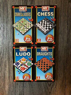 4 Travel Magnetic Traditional Board Games Chess Ludo Draughts Snakes & Ladders