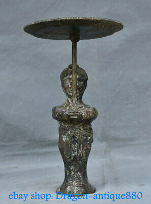 """13"""" Old Chinese Bronze Ware Dynasty Palace Stand People Candlestick Sculpture"""