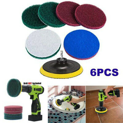6x Brush Power Scrubber Scrub Pad Tire Cleaning Kit For Car Polisher Drill
