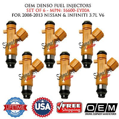DENSO OEM FUEL INJECTORS 6X for 2008-2018 NISSAN-INFINITI 3.7L V6  #16600-EY00A