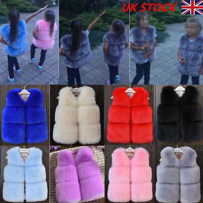 Toddler Kids Baby Girls Boys Fur Vest  Bodywarmer Gilet Winter Waistcoat Coat