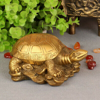 Chinese Feng Shui Golden Wealth Money Loong Dragon Turtle Tortoise Statue b