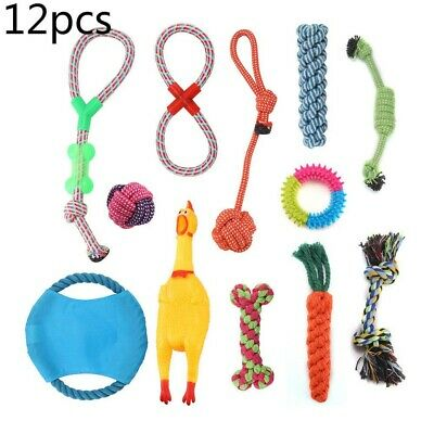 12 Pack Dog Rope Toys Kit Tough Strong Chew Knot Ball Pet Puppy Bear Cotton Toy