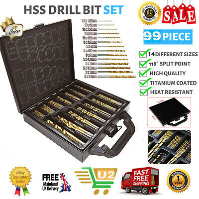 99pcs Coated HSS Twist Titanium Drill Bit Set 1.5-10mm for Dewalt Makita Bosch U