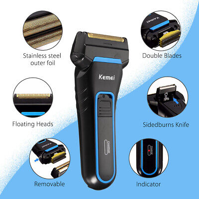 Mens Electric Rotary Shaver Rechargeable 3D Triple Floating Head Trimmer Razor