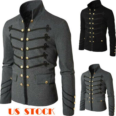 Gothic Steampunk Mens Retro Short Jacket Blazer Vintage Double Breasted Coat USA