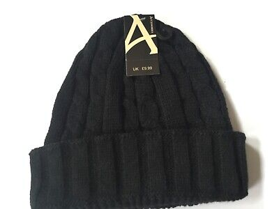 Mens Womens Kids Cable Knitted Bobble Hat Plain Beanie Warm Winter Wooly Cap