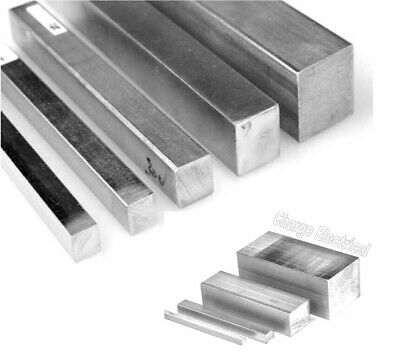 Aluminium solid square bar. Block. 12 Sizes. 4 Inch -> 15 Inch lengths. 6082-T6.