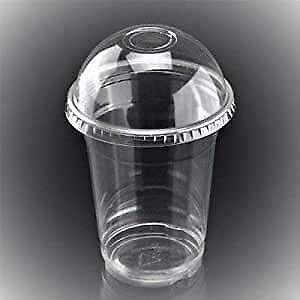 Disposable Smoothie Milkshake Cups With Domed Lid - Juice Slush Party Clear 10oz