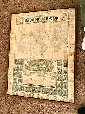 Antique 3 Maps by New England Homestead Engraved USA,New England,World Map 1900s
