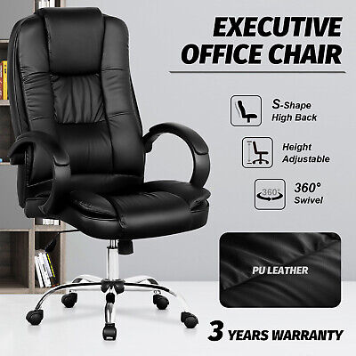 Office Chair High Back Executive PU Leather Recliner Computer Gaming Chairs Seat