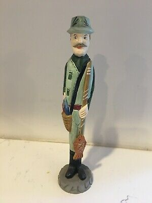 """Hand Carved Wooden Fisherman with fish 8"""" Tall"""