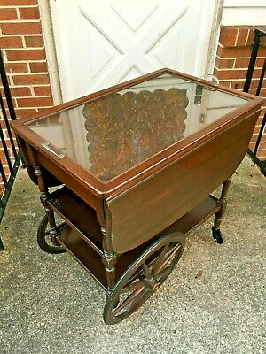 Mahogany Tea Cart With Glass Serving Tray By Paine Furniture