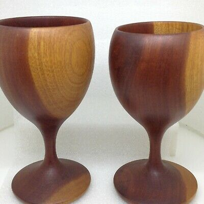 Lot of 2 Vintage CHALICE GOBLET Hand Turned Wood Drinking Cup Vessels