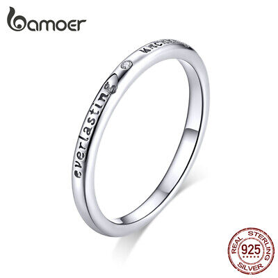 BAMOER Solid S925 Sterling silver Finger Ring AAA CZ Oath Ring For Women Jewelry