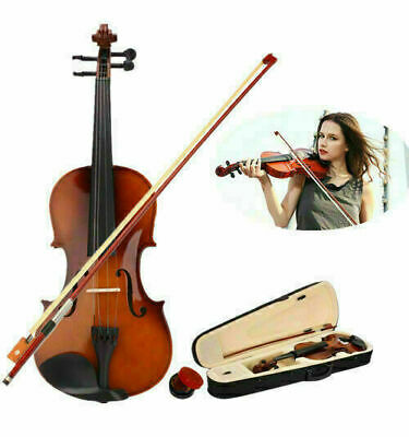 4/4 Full Size Natural Basswood Acoustic Violin Fiddle +Case +Bow + Rosin Set