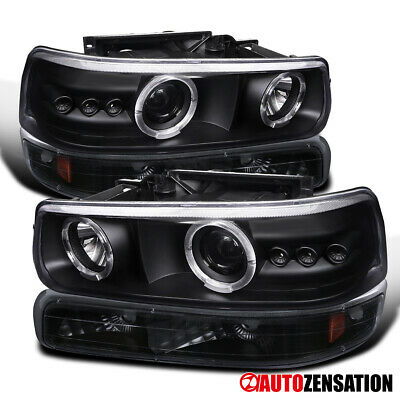 For 1999-2002 Chevy Silverado LED DRL Black Projector Headlights+Bumper Lamps
